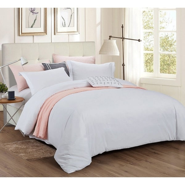 Word of Dream Brushed Microfiber Solid Duvet Cover Sets 3 PC, Full/Queen - White