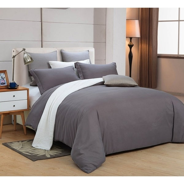 Word of Dream Brushed Microfiber Solid Duvet Cover Sets 3 PC, Full/Queen - Dark Gray
