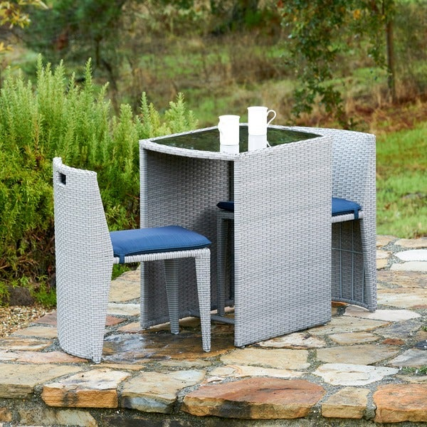 Corvus Delphi 3-piece Grey Wicker Patio Dining Set with Navy Blue Cushions