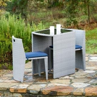 Corvus Delphi 3-piece Grey Wicker Patio Dining Set with Cushions