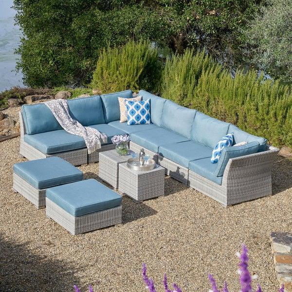 Corvus 10 Piece Grey Wicker Patio Furniture Set With Blue Cushions