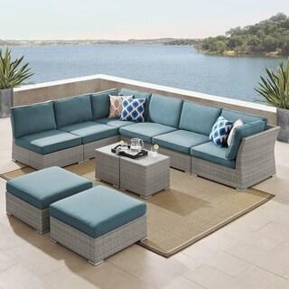 Corvus 10-piece Grey Wicker Patio Sectional Conversation Sofa Set with Blue Cushions