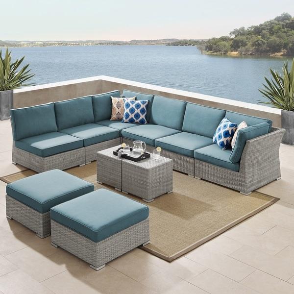 Shop Corvus 10 Piece Grey Wicker Patio Sectional Sofa Set