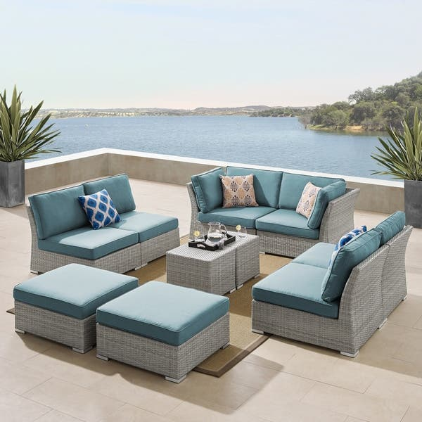 Fabulous Shop Corvus 10 Piece Grey Wicker Patio Sectional Sofa Set Inzonedesignstudio Interior Chair Design Inzonedesignstudiocom