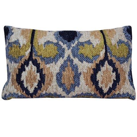 Handmade Chenille Ikat Throw Pillow (India)