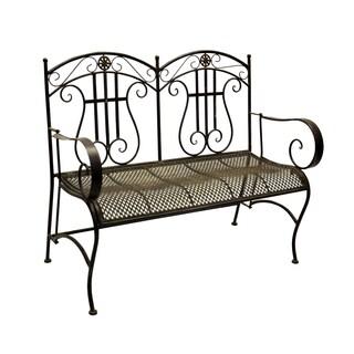 Qadir Black and Brown Iron Mid-Century Style Bench
