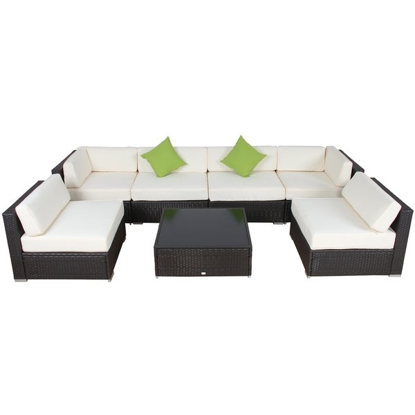 Shop Auro 7 Piece Rattan Deep Seating Modular Sectional With