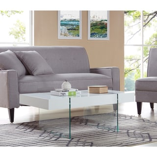 Handy Living Rubi White Rectangular Coffee Table with Clear Tempered Glass Panel Legs
