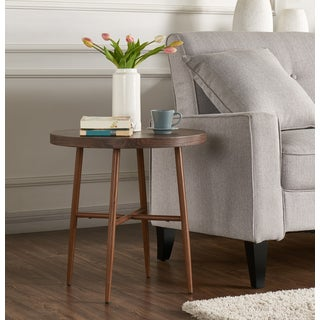 Handy Living Miami Brown Round End Table with Brown Metal Legs