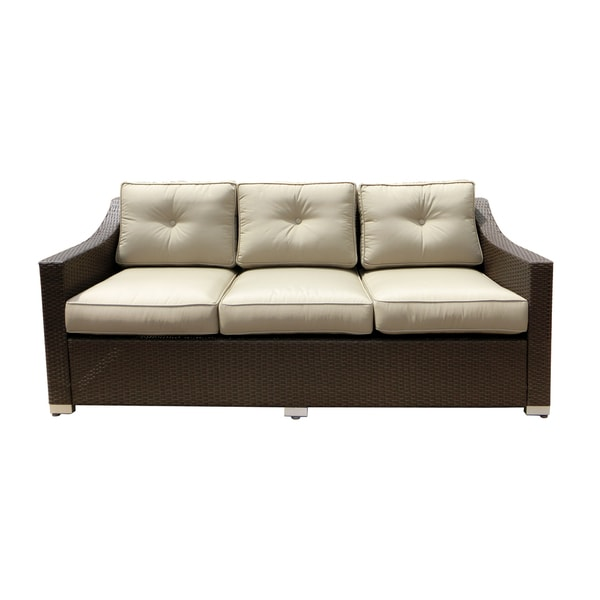 shop american patio all weather wicker espresso modern outdoor patio sofa free shipping today. Black Bedroom Furniture Sets. Home Design Ideas