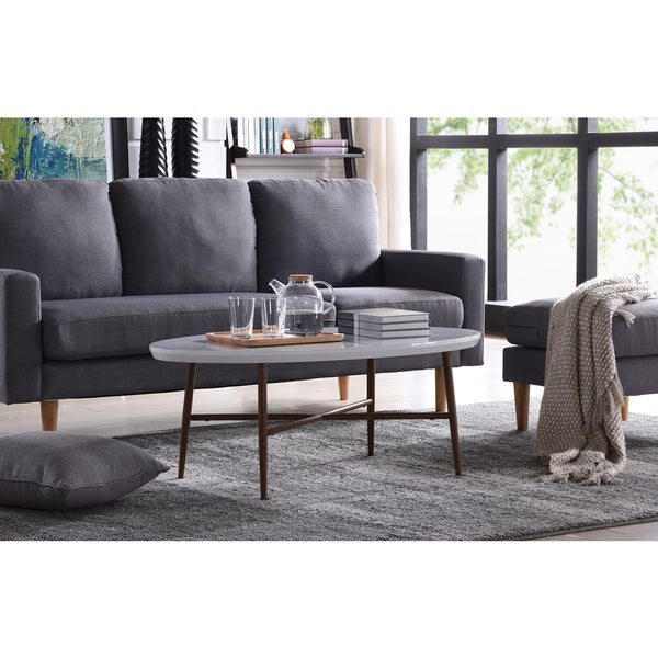 Oval Coffee Table With Metal Legs: Handy Living Miami White Oval Coffee Table With Brown