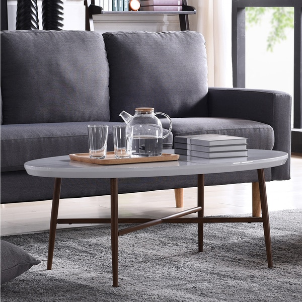 Oval Coffee Table With Metal Legs: Shop Handy Living Miami White Oval Coffee Table With Brown