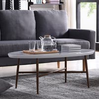 Handy Living Miami White Oval Coffee Table with Brown Metal Legs