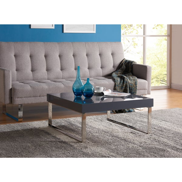 Handy Living Enrique Light Grey Square Coffee Table With Chrome Legs