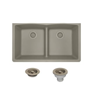 812 double equal bowl low divide undermount composite granite sink acrylic kitchen sinks for less   overstock com  rh   overstock com