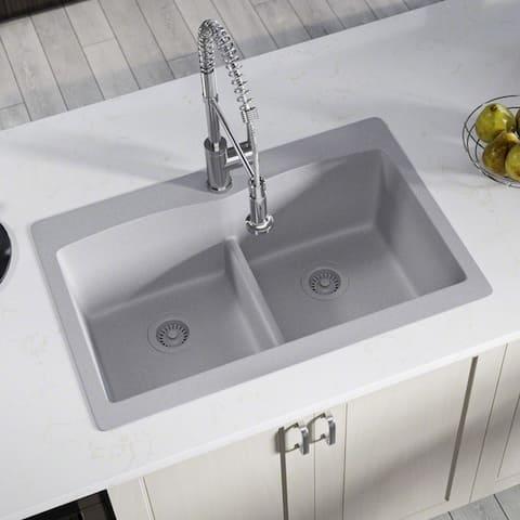 T812 Double Equal Bowl Low-Divide Topmount Composite Granite Sink