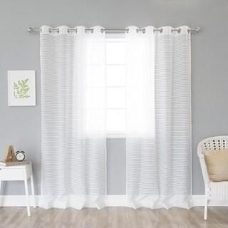 Aurora Home Modern Check Sheer Curtain Panel Pair