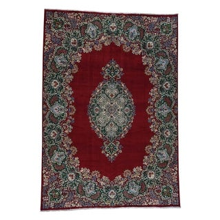 1800getarug Semi Antique Signed Kerman Design Hand-Knotted Persian Rug (10' x 14')