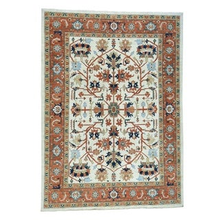 1800getarug Peshawar with Heriz Design Hand-Knotted Pure Wool Oriental Rug (10' x 14')