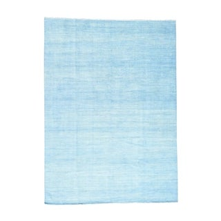 1800getarug Sky Blue Hand-Knotted Wool and Silk Grass Design Oriental Rug (10' x 14')
