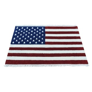 1800getarug Pure Wool Hand-Knotted American Flag Oriental Rug (3' x 4')