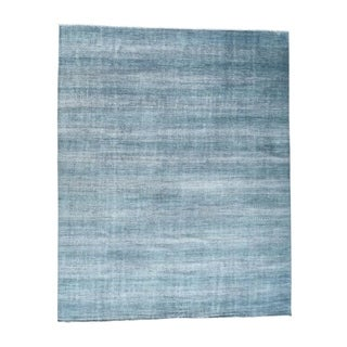1800getarug Blue Hand-Knotted Wool and Silk Grass Design Oversize Rug (12' x 18')