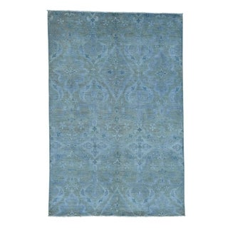 1800getarug Silver Wash Ikat Design Peshawar Hand-Knotted Pure Wool Rug (6' x 9')