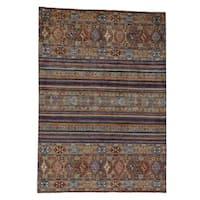Shahbanu Rugs Hand-Knotted Pure Wool Super Kazak Khorjin Design Oriental Rug (8' x 12')