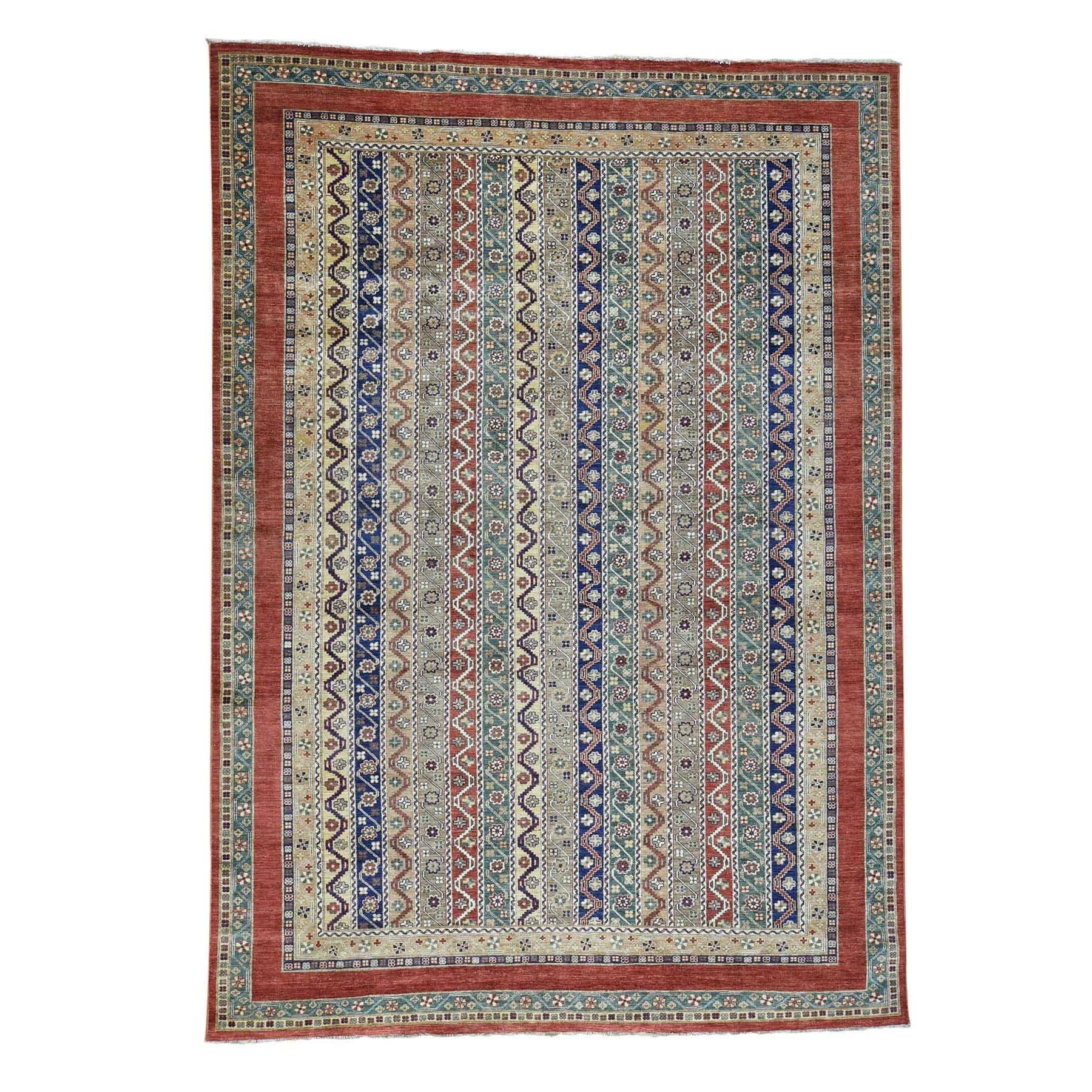 Shahbanu Rugs Super Kazak Khorjin Shawl Design Hand Knotted Pure Wool Rug 10 X 14 Multi