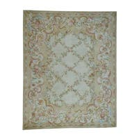 Shahbanu Rugs Savonnerie Floral Trellis European Thick And Plush Oversize Rug