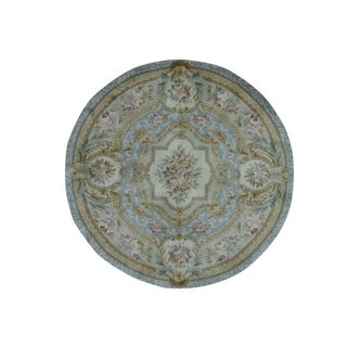 1800getarug Round Marie Antoinette Design Thick And Plush Savonnerie Rug (6' x 6')