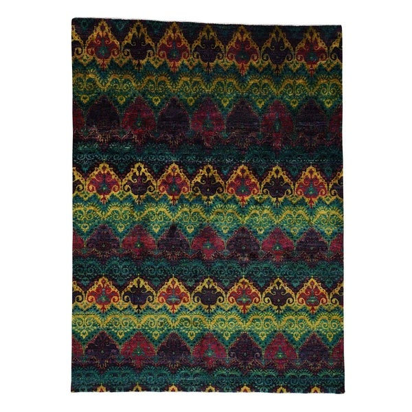 Shahbanu Rugs Sari Silk Ikat Design Hand Knotted Bright Colors Oriental Rug 9