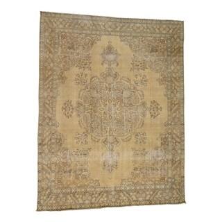 1800getarug Hand-Knotted Worn Wool Vintage White Wash Tabriz Persian Rug (9' x 12')