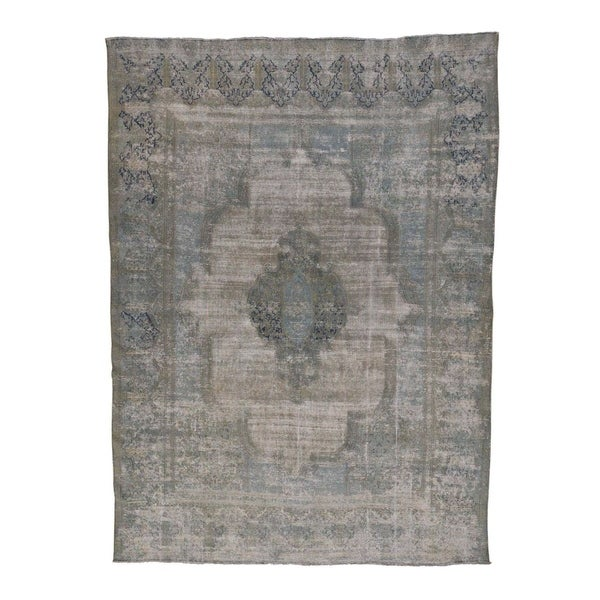 Shahbanu Rugs Vintage White Wash Persian Kerman Hand Knotted Pure Wool Rug 10