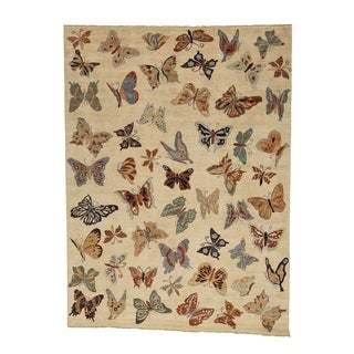 1800getarug Hand-Knotted Pure Wool Butterfly Design Oriental Rug (9' x 12')
