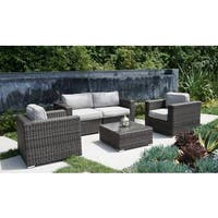 Living Source International Camden 5-piece Aluminium Frame Club Sofa, 2 Chairs with Cushions, and Table Patio Set