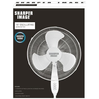 Sharper Image 16 Inch White Oscillating Stand Fan