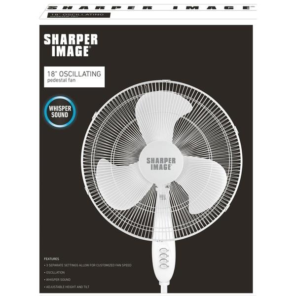 Sharper Image 16 Inch White Oscillating Stand Fan