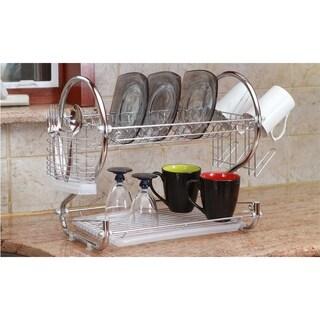 Modern Kitchen Chrome Plated 2-Tier Dish Drying Rack and Draining Board - Organized Utensil Holder Mug Dryer - Silver