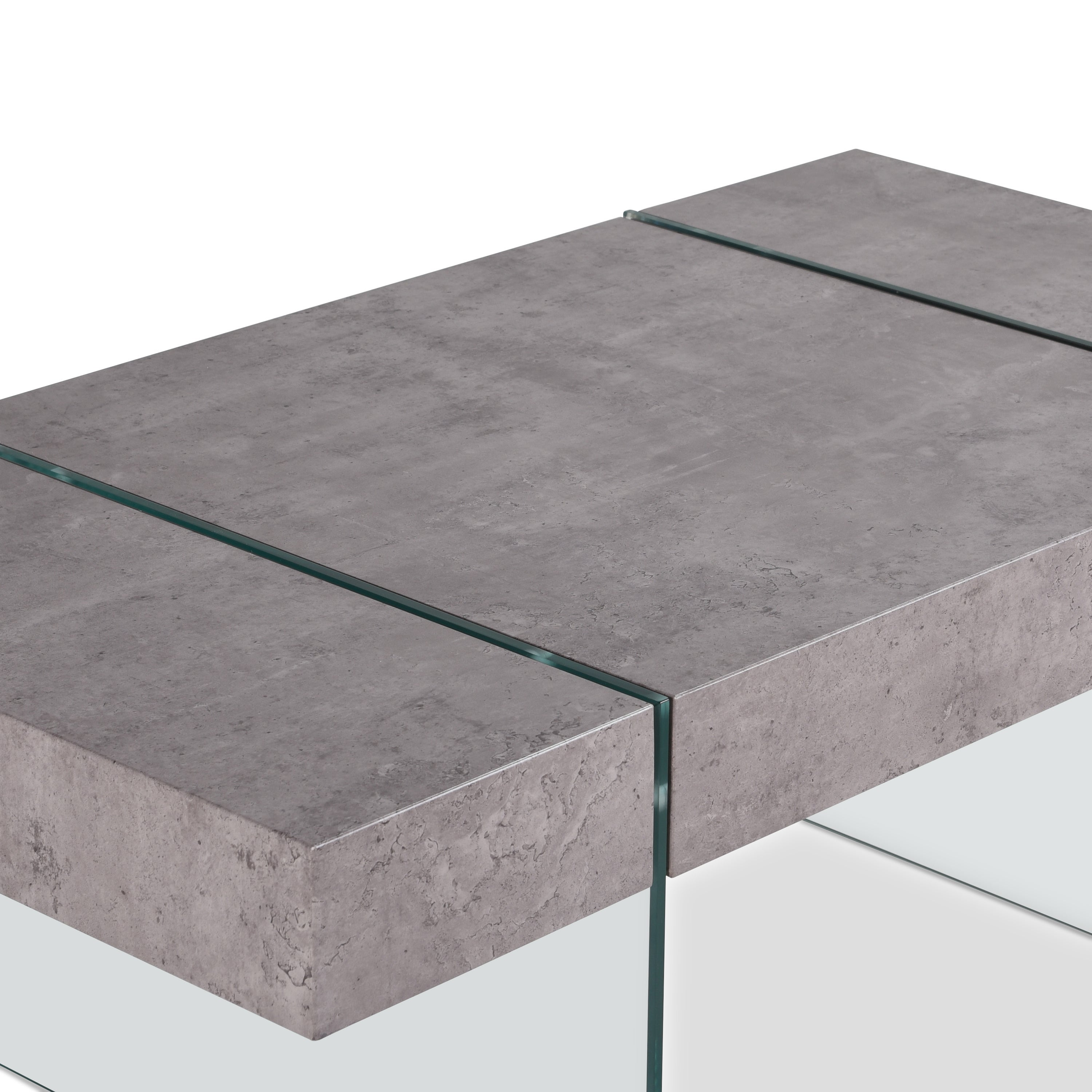 Handy Living Rubi Grey Concrete Rectangular Coffee Table With Clear Tempered Gl Panel Legs