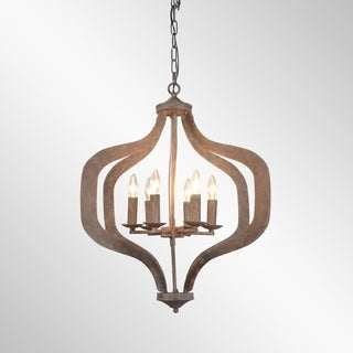 Esther Rustic Bronze 6-Light Large Chandelier by Kosas Home