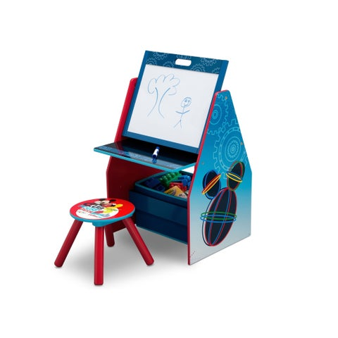 Disney Mickey Mouse Activity Center - Easel Desk with Stool & Toy Organizer - Multi