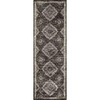Elizabeth Charcoal/ Taupe Floral Rug - 2'6 x 7'6