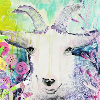 'Goat's Paradise' Painting Print on Wrapped Canvas
