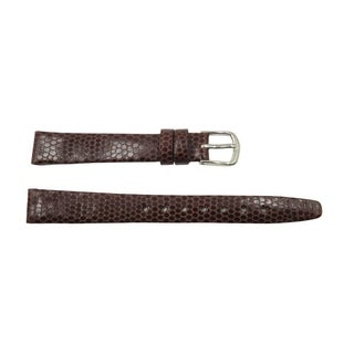 12mm Burgundy Genuine Leather Round Lizard Grain Flat Watch Band
