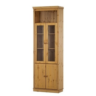 Anita Solid Pine 86-inch Tall Showcase with 2 Wood Doors and 2 Glass Doors