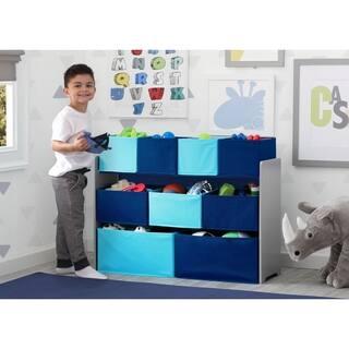 Delta Children Deluxe Multi-Bin Toy Organizer with Storage Bins, Grey/Blue Bins