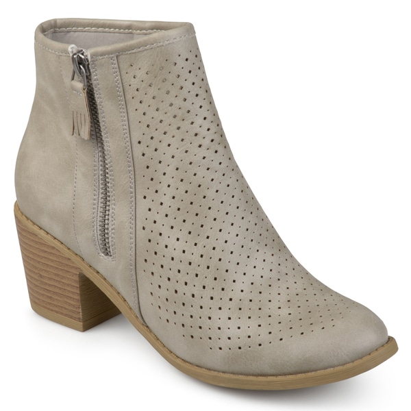 Journee Collection Women's 'Meleny' Laser-cut Comfort-sole Faux Wood Stacked Heel Booties