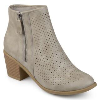 Journee Collection Women's 'Meleny' Laser-cut Comfort-sole Faux Wood Stacked Heel Booties