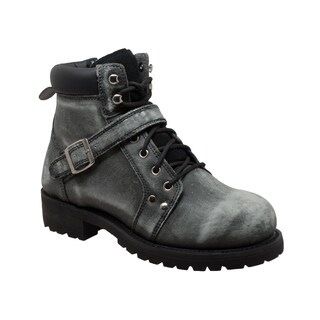 "Men's 6"" Stonewash Zipper Lace Boot Black"